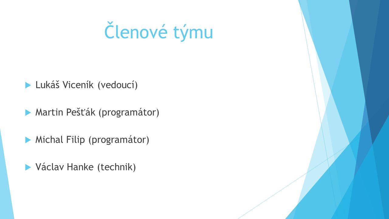 Členové týmu  Lukáš Viceník (vedoucí)  Martin Pešťák (programátor)  Michal Filip (programátor)  Václav Hanke (technik)
