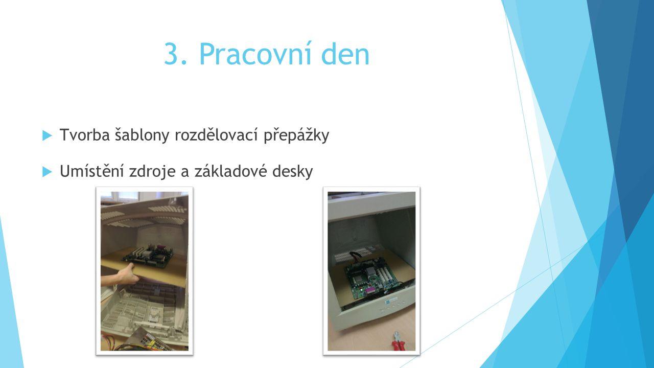 3. Pracovní den  Tvorba šablony rozdělovací přepážky  Umístění zdroje a základové desky