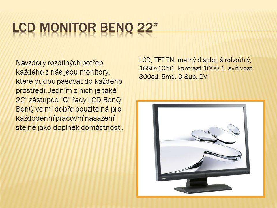 LCD, TFT TN, matný displej, širokoúhlý, 1680x1050, kontrast 1000:1, svítivost 300cd, 5ms, D-Sub, DVI Navzdory rozdílných potřeb každého z nás jsou mon