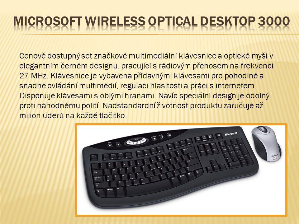 Cenově dostupný set značkové multimediální klávesnice a optické myši v elegantním černém designu, pracující s rádiovým přenosem na frekvenci 27 MHz.
