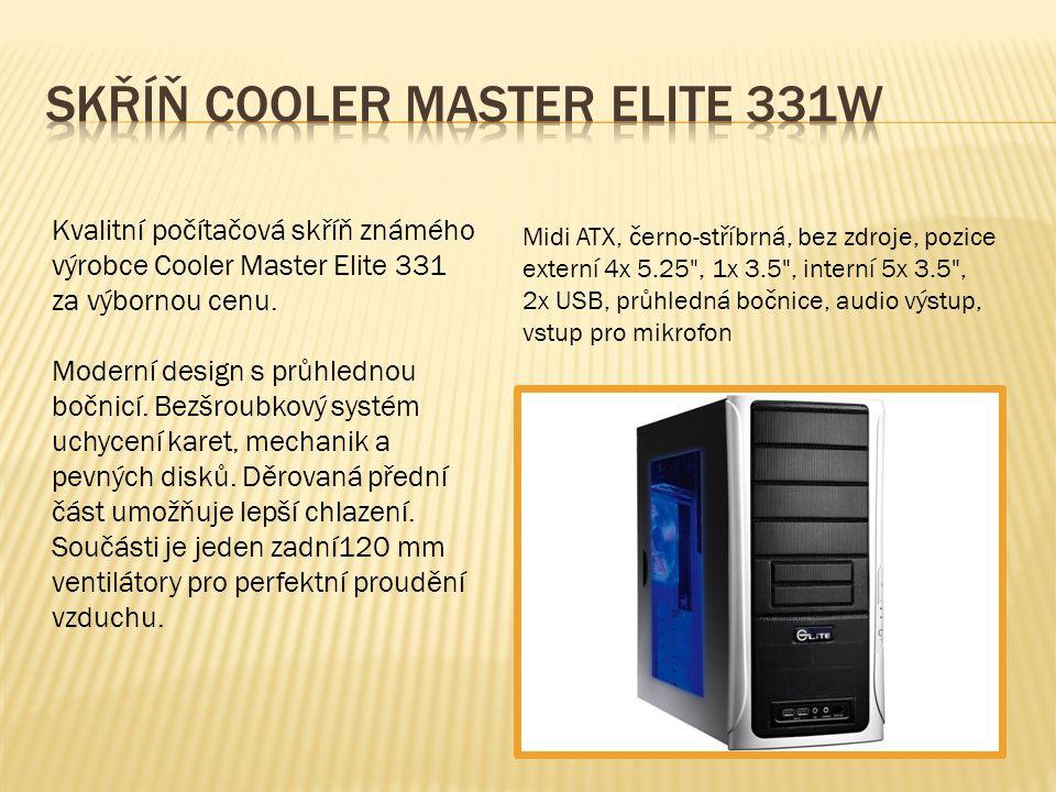 Kvalitní počítačová skříň známého výrobce Cooler Master Elite 331 za výbornou cenu. Moderní design s průhlednou bočnicí. Bezšroubkový systém uchycení