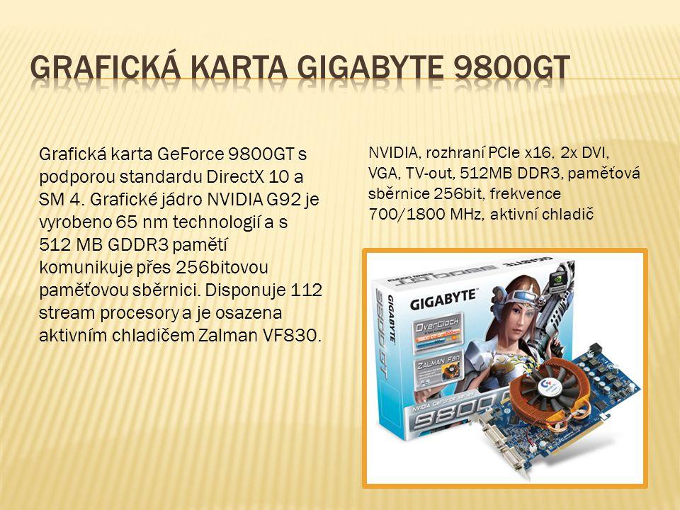 Grafická karta GeForce 9800GT s podporou standardu DirectX 10 a SM 4. Grafické jádro NVIDIA G92 je vyrobeno 65 nm technologií a s 512 MB GDDR3 pamětí