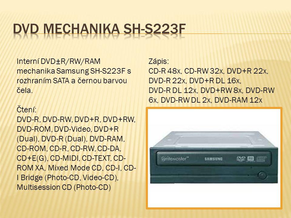 Interní DVD±R/RW/RAM mechanika Samsung SH-S223F s rozhraním SATA a černou barvou čela. Čtení: DVD-R, DVD-RW, DVD+R, DVD+RW, DVD-ROM, DVD-Video, DVD+R