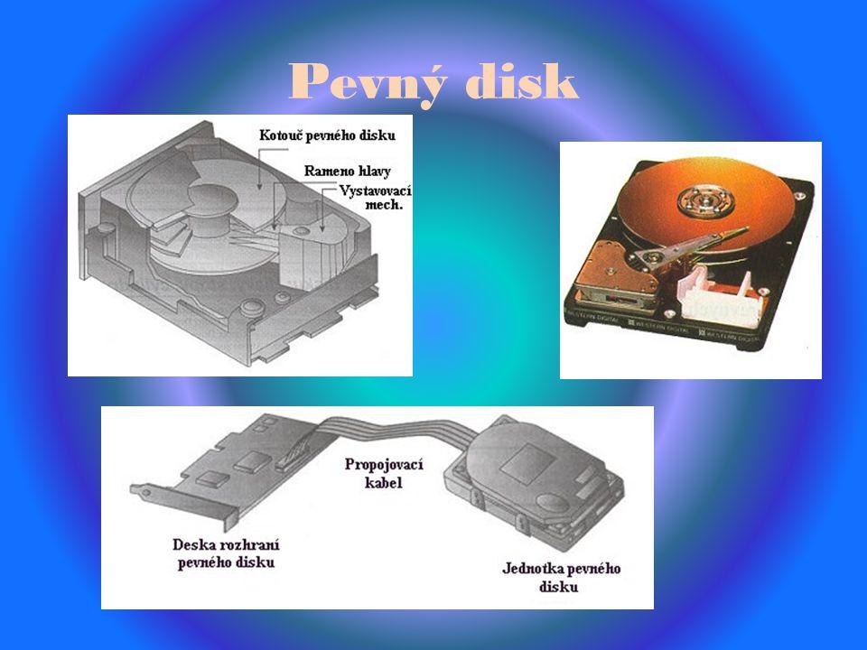Pevný disk Používá točité tácy(disky). Podsystém se skládá z:diskových jednotek :desky rozhraní pevných disků :příslušných kabelů propojujících diskov