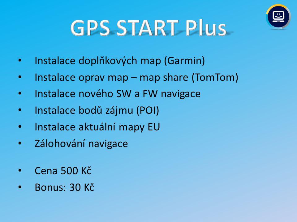 Instalace doplňkových map (Garmin) Instalace oprav map – map share (TomTom) Instalace nového SW a FW navigace Instalace bodů zájmu (POI) Instalace aktuální mapy EU Zálohování navigace Cena: 400 Kč Bonus: 30 Kč