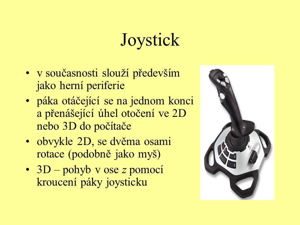 Joystick v současnosti slouží především jako herní periferie páka otáčející se na jednom konci a přenášející úhel otočení ve 2D nebo 3D do počítače ob