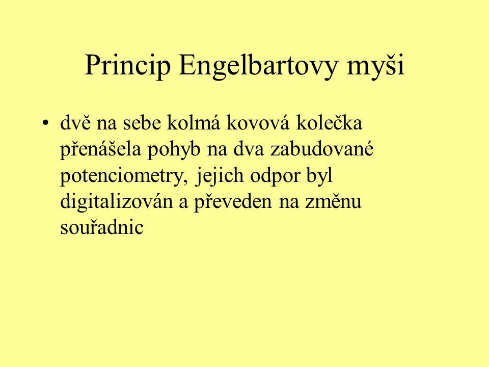 Princip Engelbartovy myši dvě na sebe kolmá kovová kolečka přenášela pohyb na dva zabudované potenciometry, jejich odpor byl digitalizován a převeden