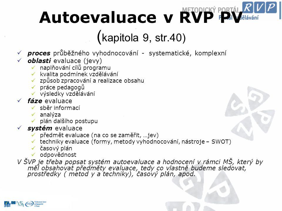 Autoevaluace v RVP PV ( kapitola 9, str.40) proces průběžného vyhodnocování - systematické, komplexní oblasti evaluace (jevy) naplňování cílů programu