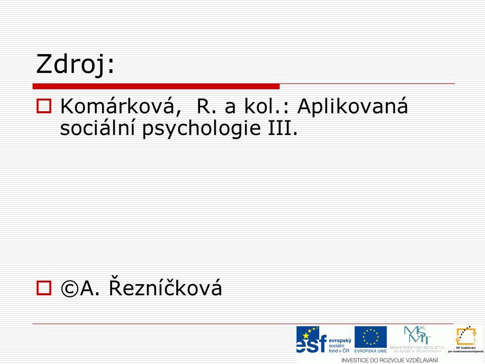 Zdroj:  Komárková, R. a kol.: Aplikovaná sociální psychologie III.  ©A. Řezníčková