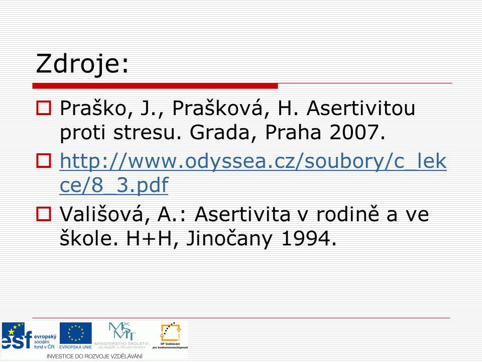 Zdroje:  Praško, J., Prašková, H. Asertivitou proti stresu. Grada, Praha 2007.  http://www.odyssea.cz/soubory/c_lek ce/8_3.pdf http://www.odyssea.cz