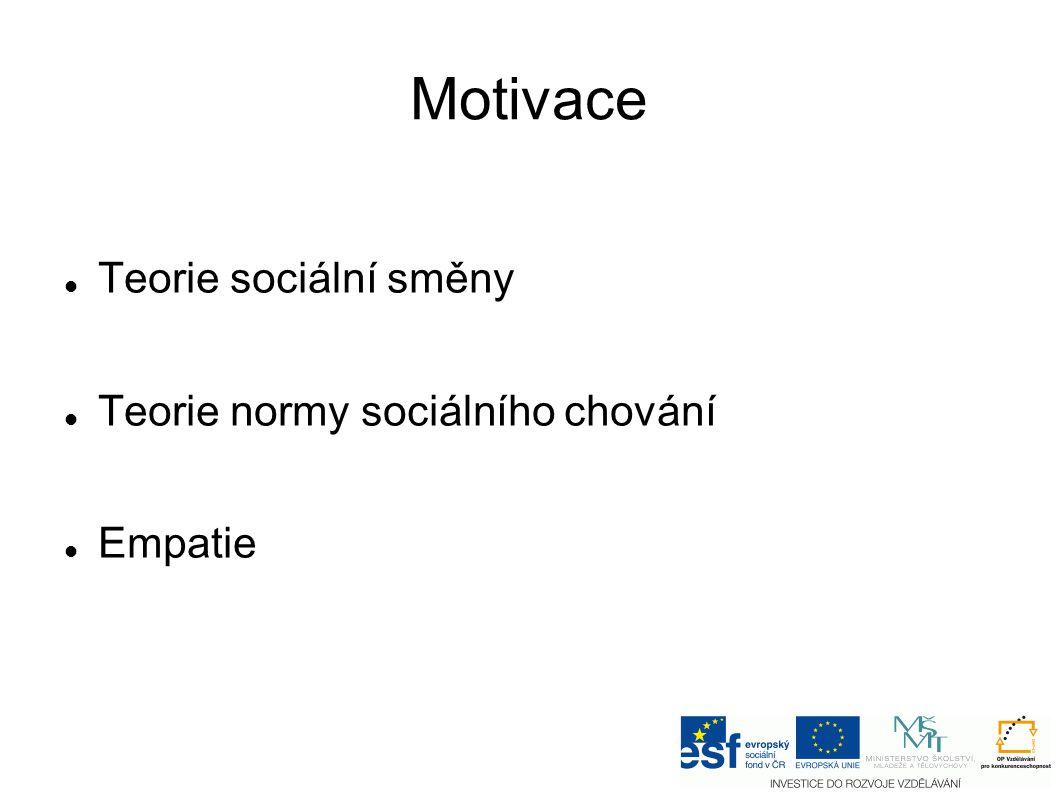 Motivace Teorie sociální směny Teorie normy sociálního chování Empatie