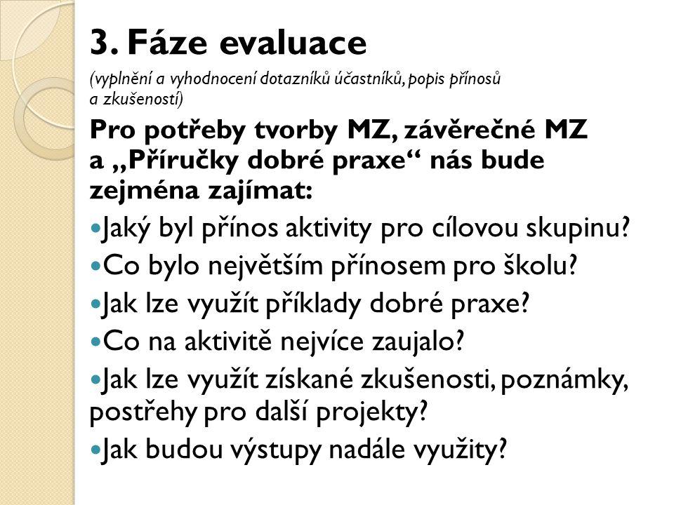 """3. Fáze evaluace (vyplnění a vyhodnocení dotazníků účastníků, popis přínosů a zkušeností) Pro potřeby tvorby MZ, závěrečné MZ a """"Příručky dobré praxe"""""""