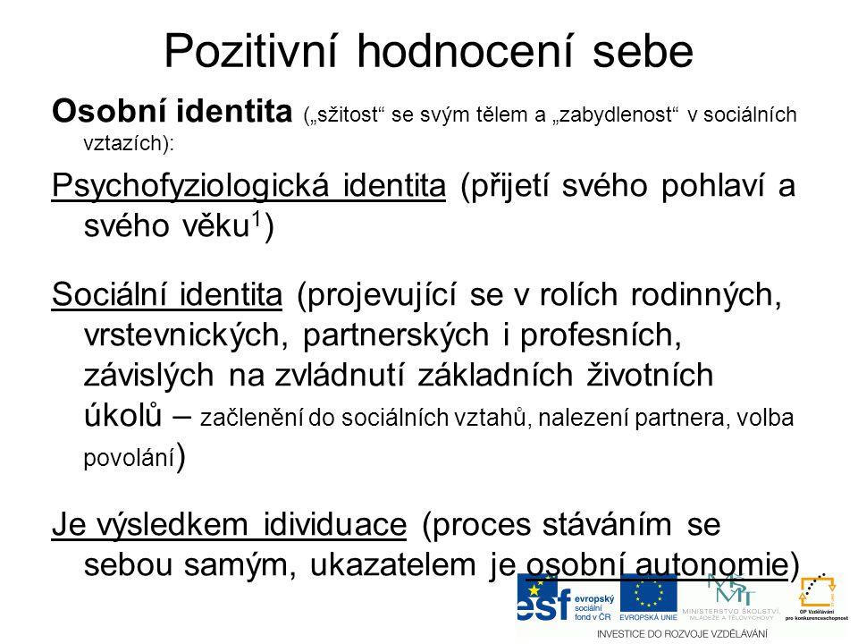 """Pozitivní hodnocení sebe Osobní identita (""""sžitost"""" se svým tělem a """"zabydlenost"""" v sociálních vztazích): Psychofyziologická identita (přijetí svého p"""