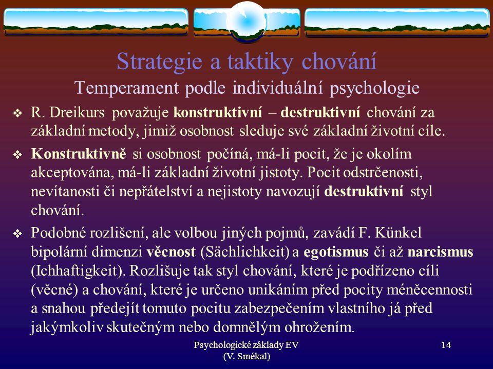 Strategie a taktiky chování Temperament podle individuální psychologie  R. Dreikurs považuje konstruktivní – destruktivní chování za základní metody,
