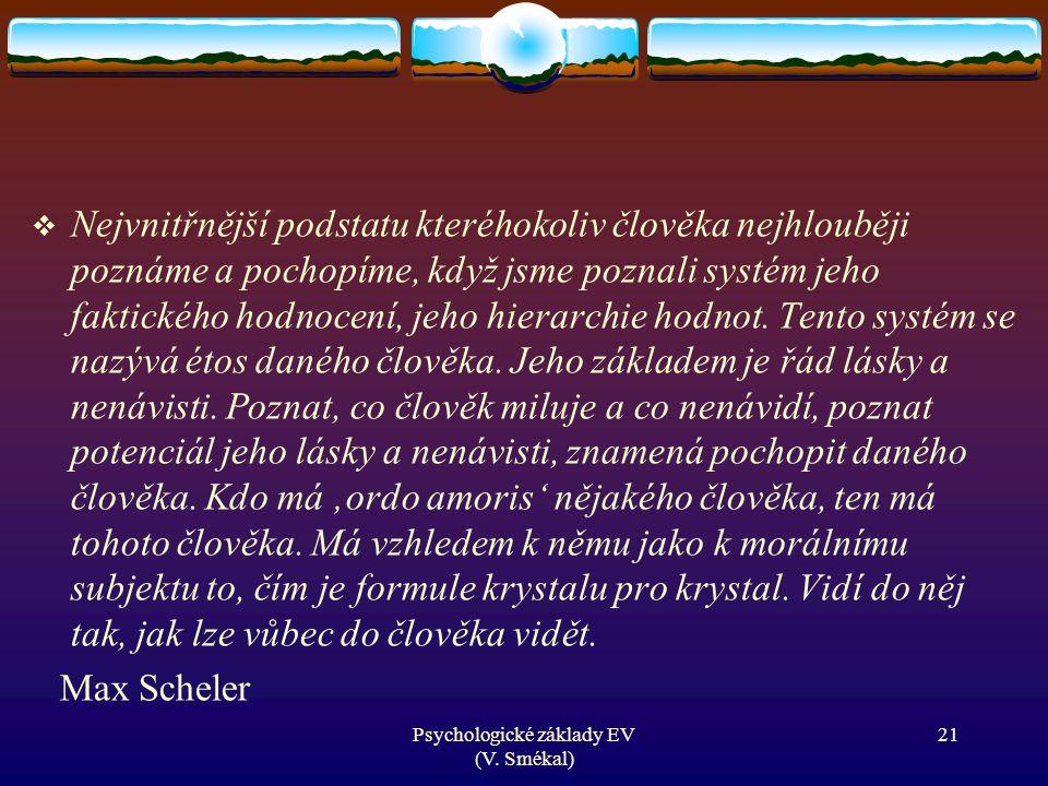 Psychologické základy EV (V. Smékal)  Nejvnitřnější podstatu kteréhokoliv člověka nejhlouběji poznáme a pochopíme, když jsme poznali systém jeho fakt
