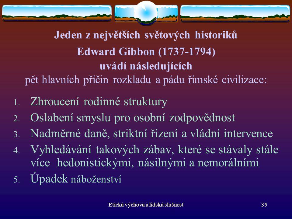 Etická výchova a lidská slušnost35 Jeden z největších světových historiků Edward Gibbon (1737-1794) uvádí následujících pět hlavních příčin rozkladu a
