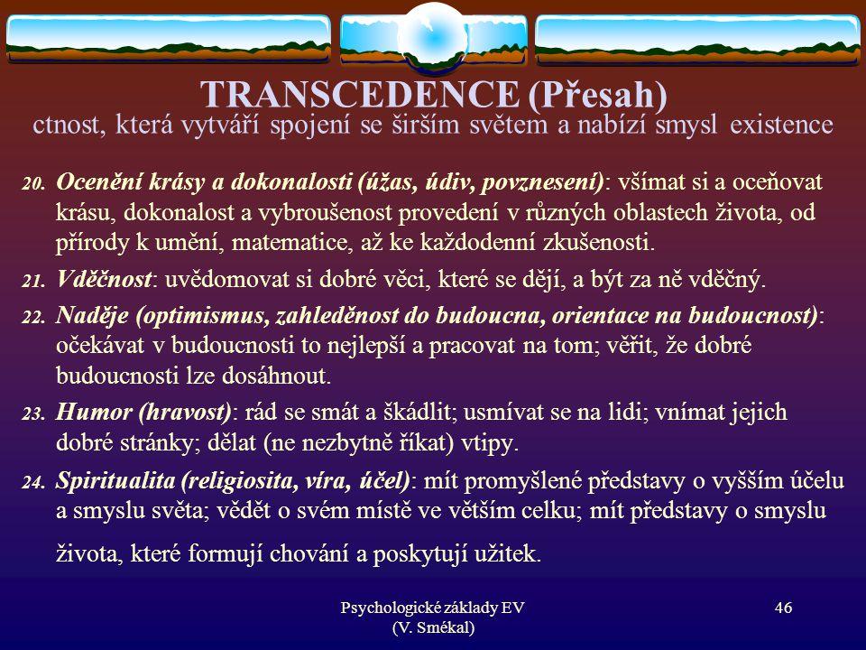 TRANSCEDENCE (Přesah) ctnost, která vytváří spojení se širším světem a nabízí smysl existence 20. Ocenění krásy a dokonalosti (úžas, údiv, povznesení)