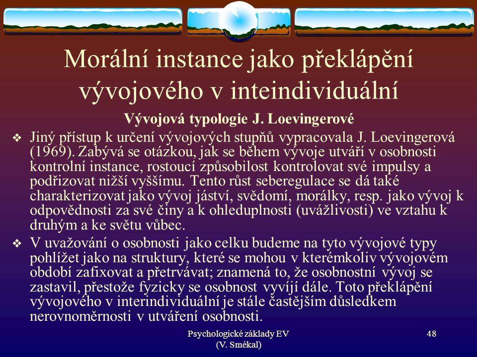 Psychologické základy EV (V. Smékal) Morální instance jako překlápění vývojového v inteindividuální Vývojová typologie J. Loevingerové  Jiný přístup