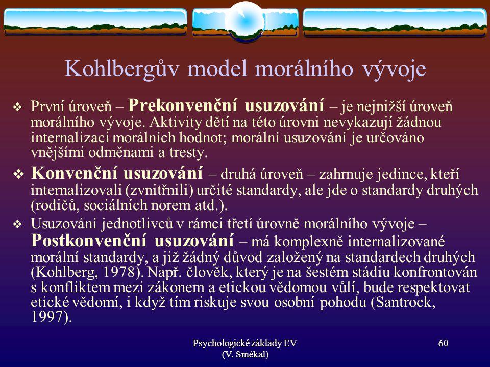 Psychologické základy EV (V. Smékal) Kohlbergův model morálního vývoje  První úroveň – Prekonvenční usuzování – je nejnižší úroveň morálního vývoje.