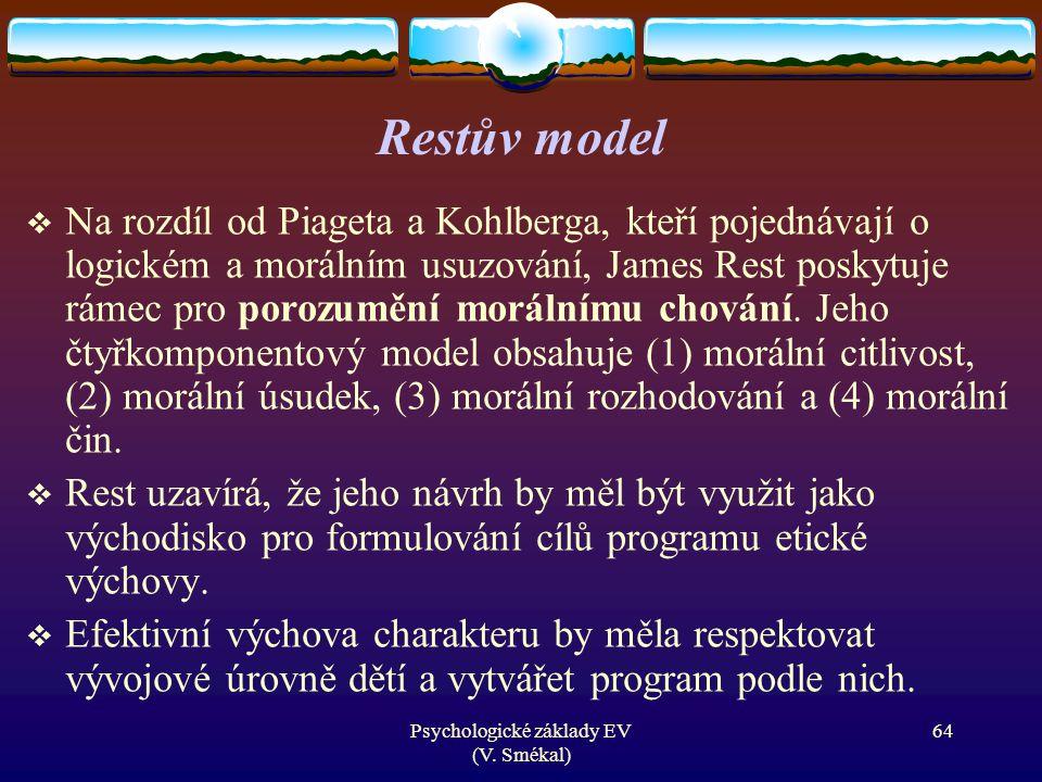 Psychologické základy EV (V. Smékal) Restův model  Na rozdíl od Piageta a Kohlberga, kteří pojednávají o logickém a morálním usuzování, James Rest po