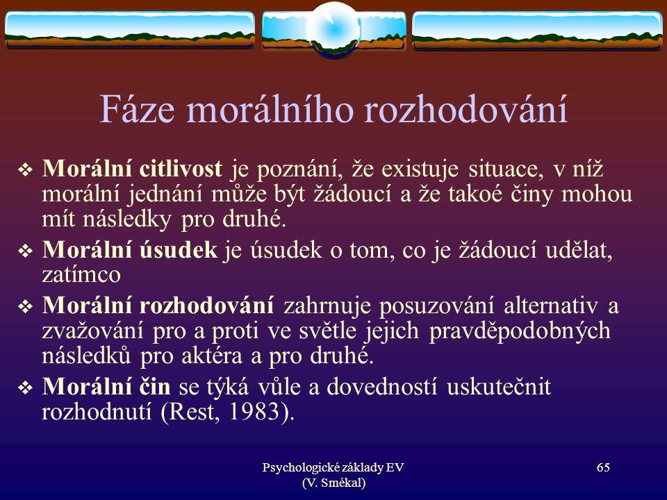 Psychologické základy EV (V. Smékal) Fáze morálního rozhodování  Morální citlivost je poznání, že existuje situace, v níž morální jednání může být žá