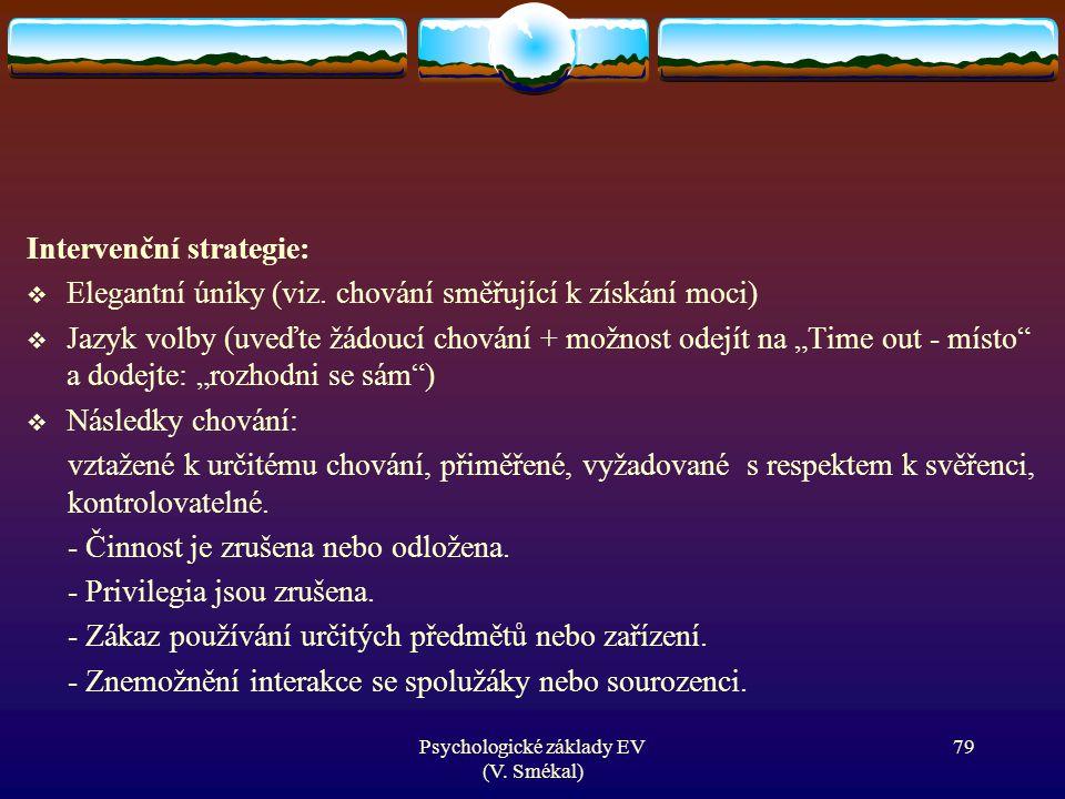 """Intervenční strategie:  Elegantní úniky (viz. chování směřující k získání moci)  Jazyk volby (uveďte žádoucí chování + možnost odejít na """"Time out -"""