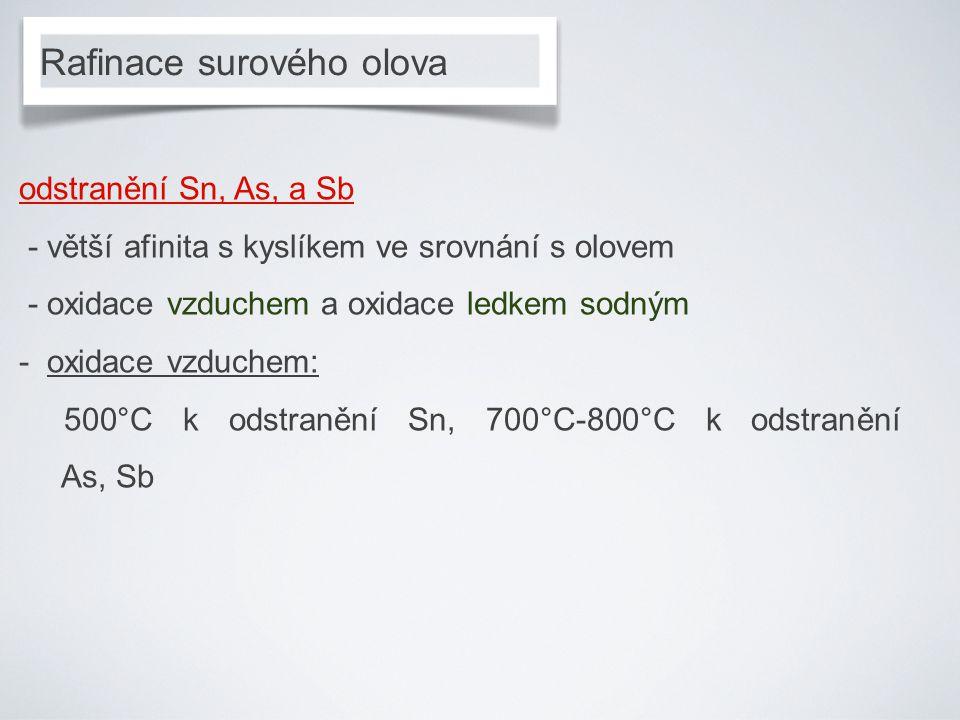 Rafinace surového olova odstranění Sn, As, a Sb - větší afinita s kyslíkem ve srovnání s olovem - oxidace vzduchem a oxidace ledkem sodným - oxidace vzduchem: 500°C k odstranění Sn, 700°C-800°C k odstranění As, Sb
