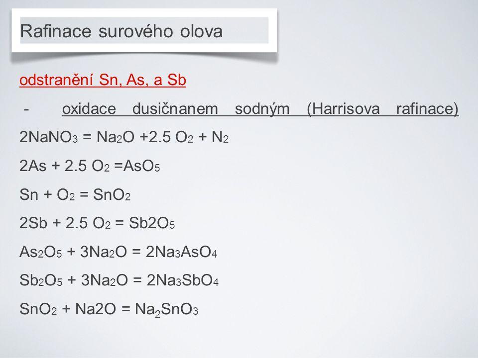 Rafinace surového olova odstranění Sn, As, a Sb - oxidace dusičnanem sodným (Harrisova rafinace) 2NaNO 3 = Na 2 O +2.5 O 2 + N 2 2As + 2.5 O 2 =AsO 5 Sn + O 2 = SnO 2 2Sb + 2.5 O 2 = Sb2O 5 As 2 O 5 + 3Na 2 O = 2Na 3 AsO 4 Sb 2 O 5 + 3Na 2 O = 2Na 3 SbO 4 SnO 2 + Na2O = Na 2 SnO 3