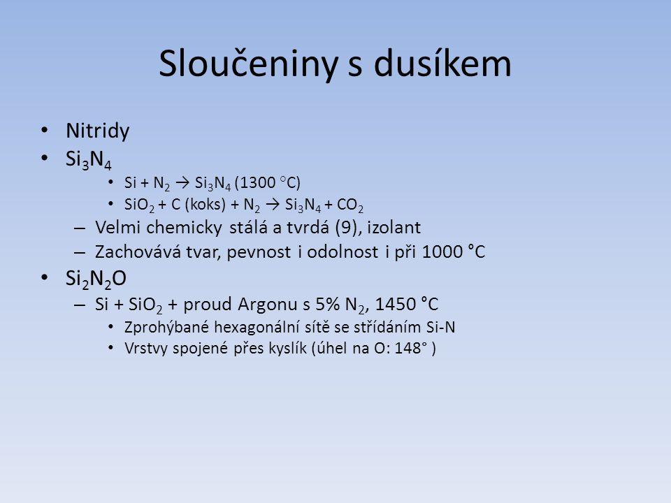Sloučeniny s dusíkem Nitridy Si 3 N 4 Si + N 2 → Si 3 N 4 (1300 °C) SiO 2 + C (koks) + N 2 → Si 3 N 4 + CO 2 – Velmi chemicky stálá a tvrdá (9), izola