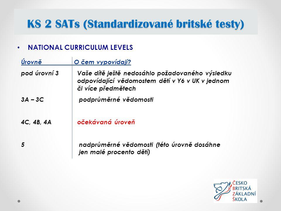 NATIONAL CURRICULUM LEVELS KS 2 SATs (Standardizované britské testy) Úrovně O čem vypovídají.
