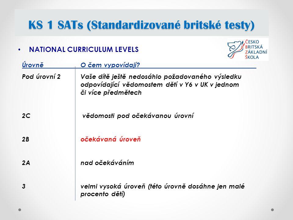 NATIONAL CURRICULUM LEVELS KS 1 SATs (Standardizované britské testy) Úrovně O čem vypovídají.