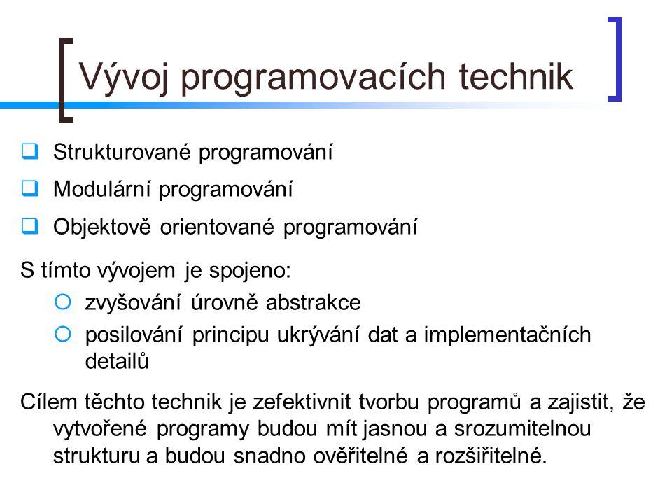 Vývoj programovacích technik  Strukturované programování  Modulární programování  Objektově orientované programování S tímto vývojem je spojeno: 