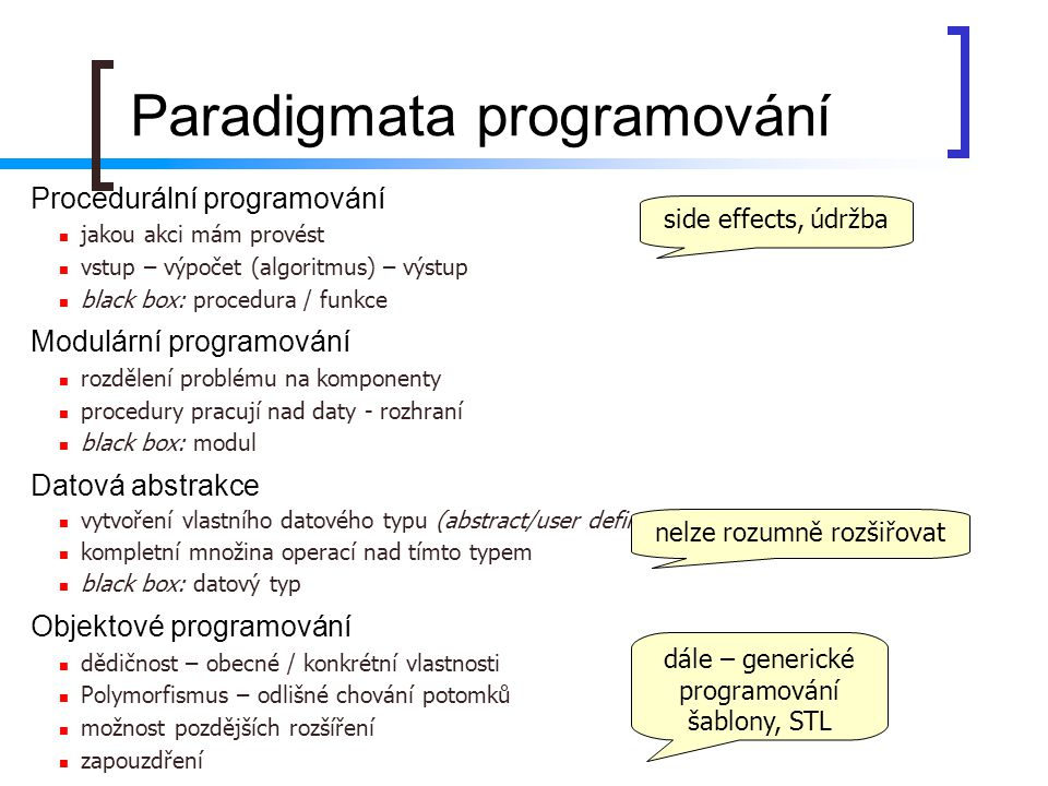 Procedurální programování jakou akci mám provést vstup – výpočet (algoritmus) – výstup black box: procedura / funkce Modulární programování rozdělení