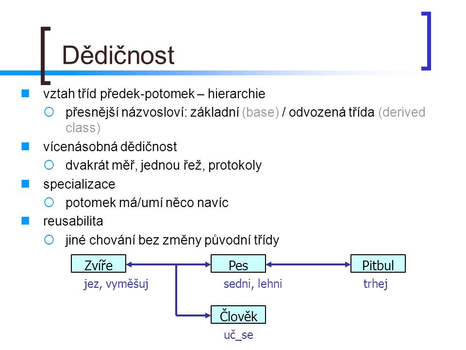 vztah tříd předek-potomek – hierarchie  přesnější názvosloví: základní (base) / odvozená třída (derived class) vícenásobná dědičnost  dvakrát měř, j