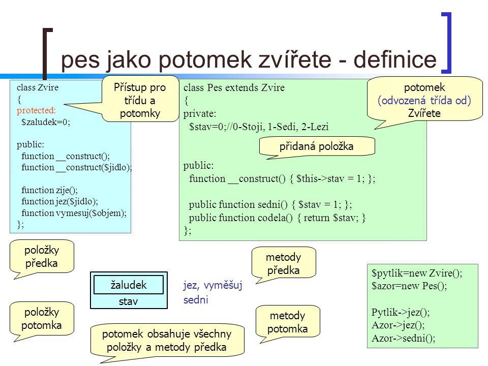 pes jako potomek zvířete - definice class Pes extends Zvire { private: $stav=0;//0-Stoji, 1-Sedi, 2-Lezi public: function __construct() { $this->stav