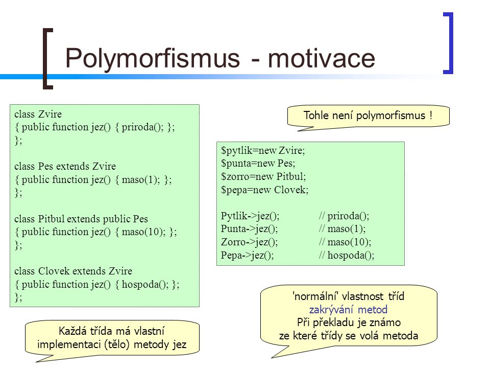 Polymorfismus - motivace class Zvire { public function jez() { priroda(); }; }; class Pes extends Zvire { public function jez() { maso(1); }; }; class