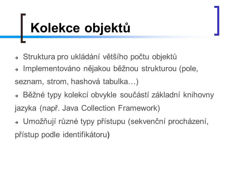 Kolekce objektů  Struktura pro ukládání většího počtu objektů  Implementováno nějakou běžnou strukturou (pole, seznam, strom, hashová tabulka…)  Bě