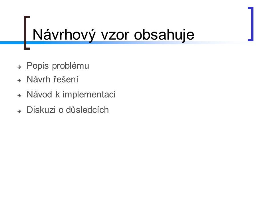 Návrhový vzor obsahuje  Popis problému  Návrh řešení  Návod k implementaci  Diskuzi o důsledcích