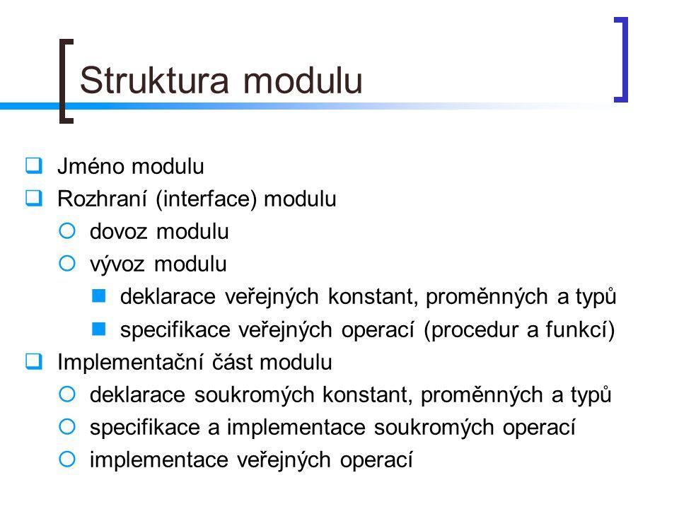 Struktura modulu  Jméno modulu  Rozhraní (interface) modulu  dovoz modulu  vývoz modulu deklarace veřejných konstant, proměnných a typů specifikac