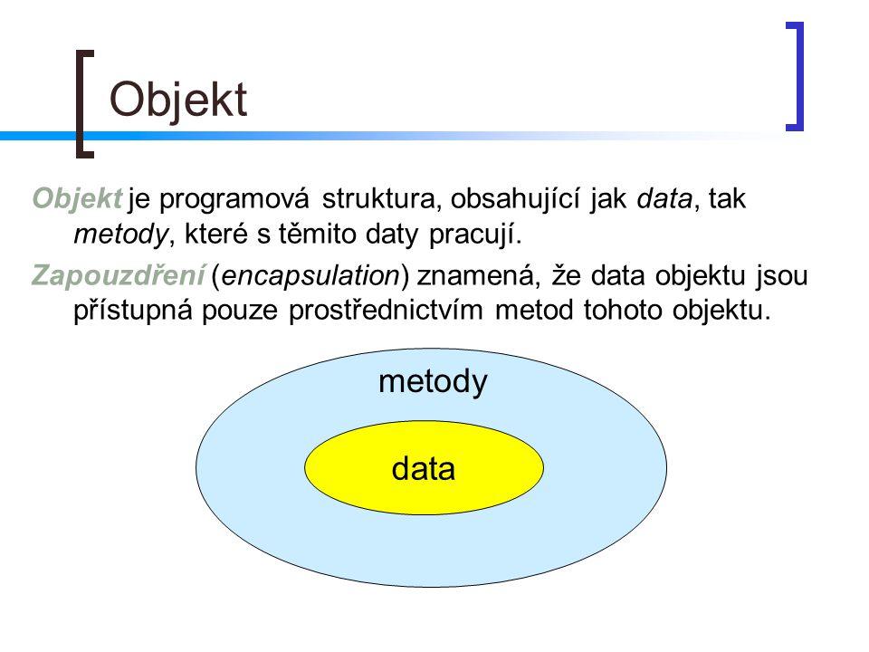 Objekt Objekt je programová struktura, obsahující jak data, tak metody, které s těmito daty pracují. Zapouzdření (encapsulation) znamená, že data obje