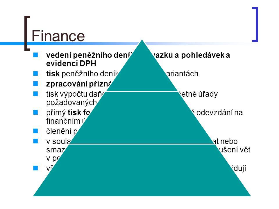 Finance vedení peněžního deníku, závazků a pohledávek a evidenci DPH tisk peněžního deníku v několika variantách zpracování přiznání k DPH tisk výpočt