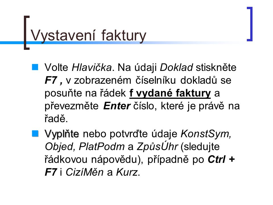 Vystavení faktury - pokračování Údaj JednCena vč.DPH.