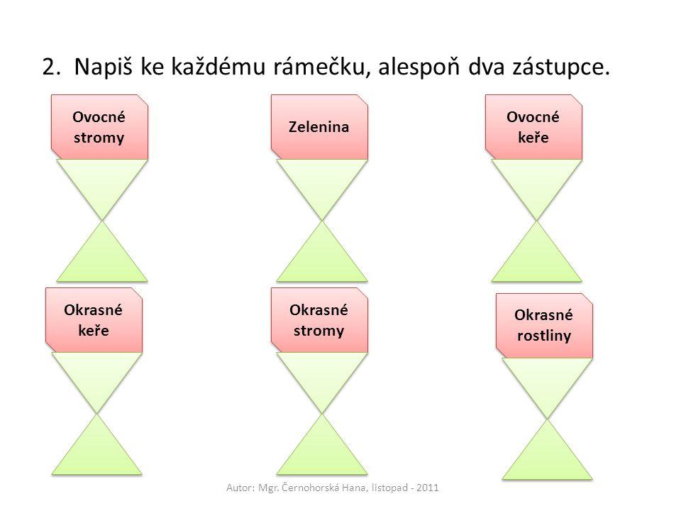 Ovocné stromy Ovocné keře Okrasné keře Okrasné stromy Okrasné rostliny Zelenina 2. Napiš ke každému rámečku, alespoň dva zástupce. Autor: Mgr. Černoho