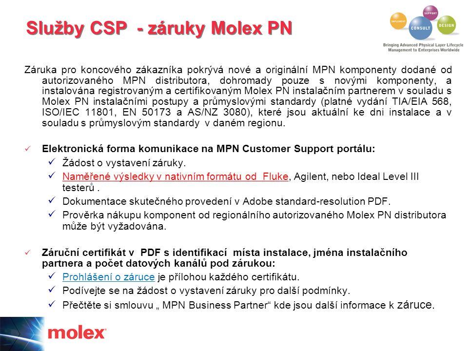 Záruka pro koncového zákazníka pokrývá nové a originální MPN komponenty dodané od autorizovaného MPN distributora, dohromady pouze s novými komponenty