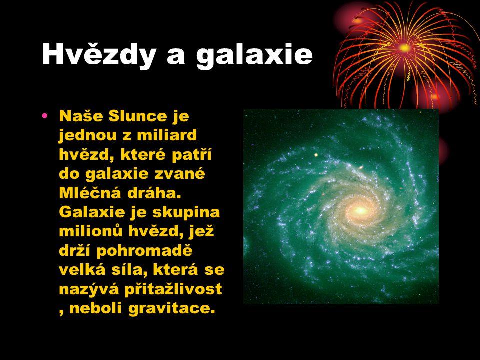 Hvězdy a galaxie Naše Slunce je jednou z miliard hvězd, které patří do galaxie zvané Mléčná dráha.