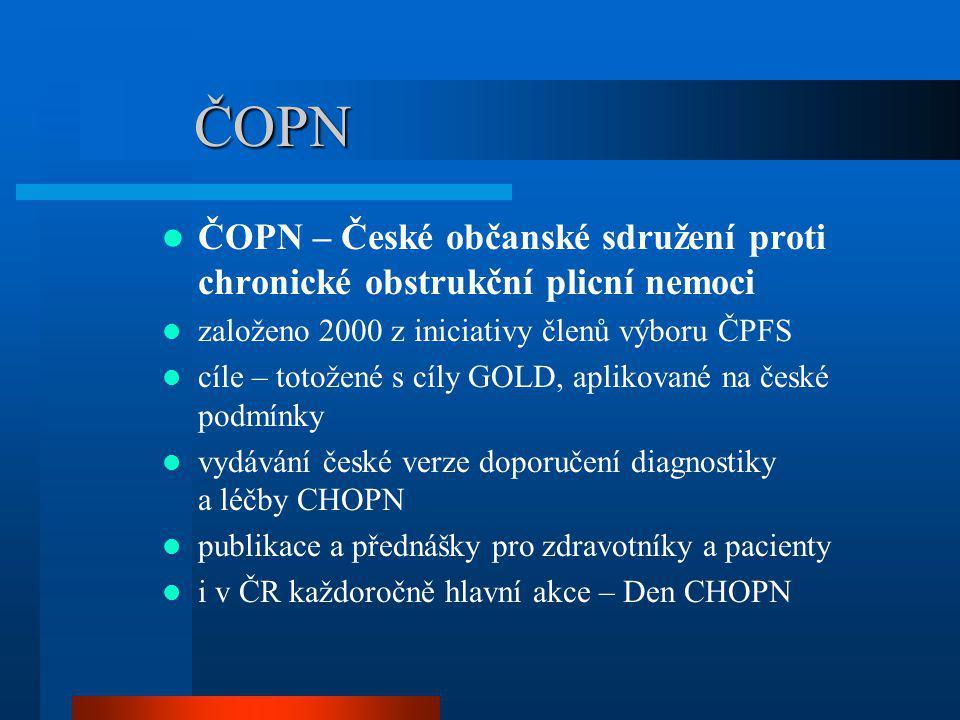 Den CHOPN 2009 součástí dotazníku i hodnocení kvality života zařazena část Symptomy dotazníku SGRQ možný rozsah 0 – 100 čím nižší hodnota, tím menší potíže obstrukcenprůměr ne49819,2 ano2931 norma12 (9 – 15) *