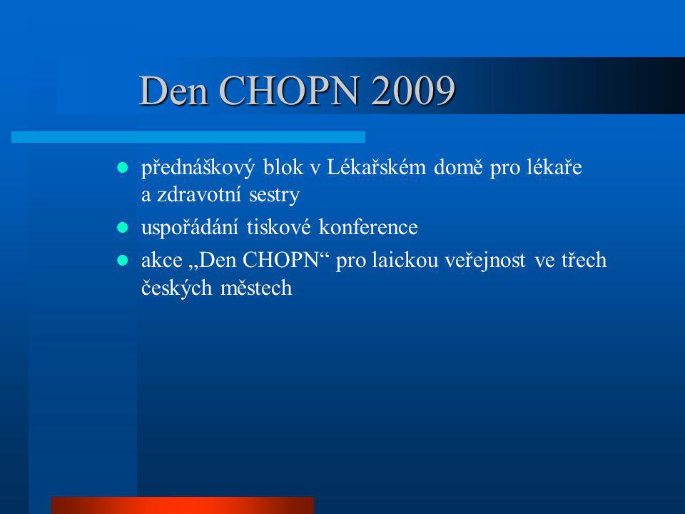 Den CHOPN 2009 v Praze, Brně a Plzni zorganizována akce pro laickou veřejnost vždy v rámci pěší zóny postaven stan s nápadnými poutači ve stanu informační materiály o CHOPN a možnost spirometrického vyšetření personální obsazení – lékař, dvě sestry