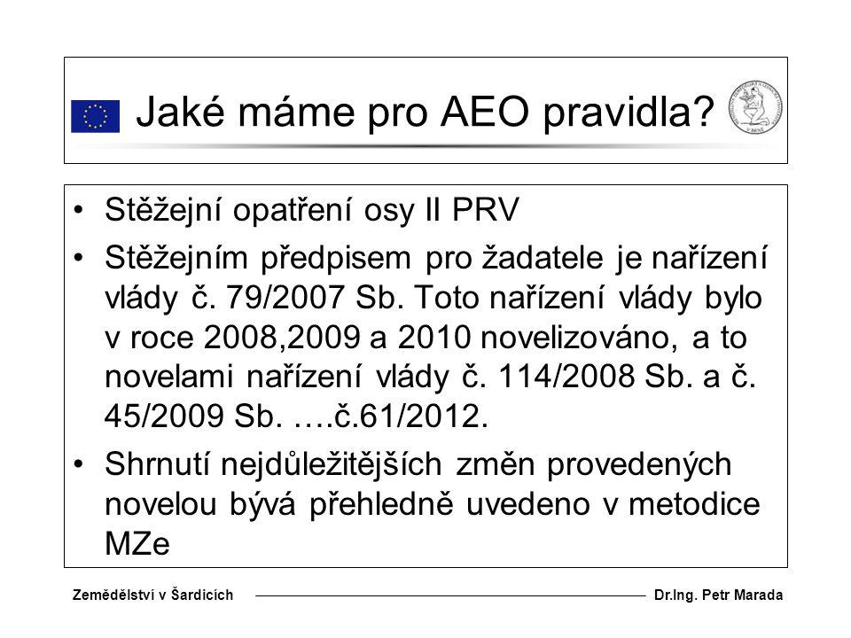 Dr.Ing.Petr MaradaZemědělství v Šardicích Jaké máme pro AEO pravidla.
