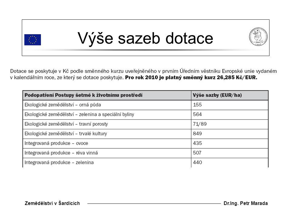 Dr.Ing. Petr MaradaZemědělství v Šardicích Výše sazeb dotace