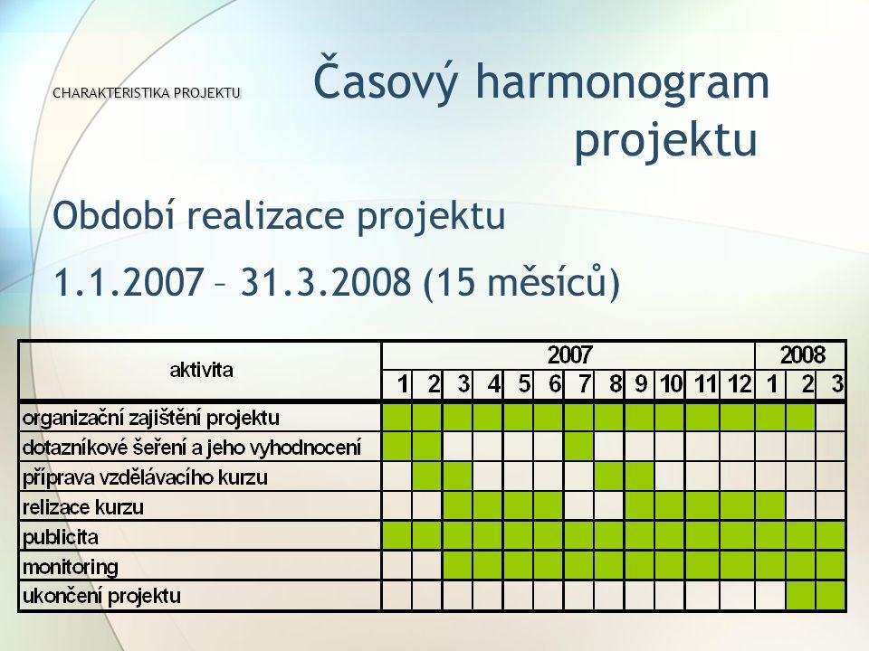 CHARAKTERISTIKA PROJEKTU CHARAKTERISTIKA PROJEKTU Časový harmonogram projektu Období realizace projektu 1.1.2007 – 31.3.2008 (15 měsíců)